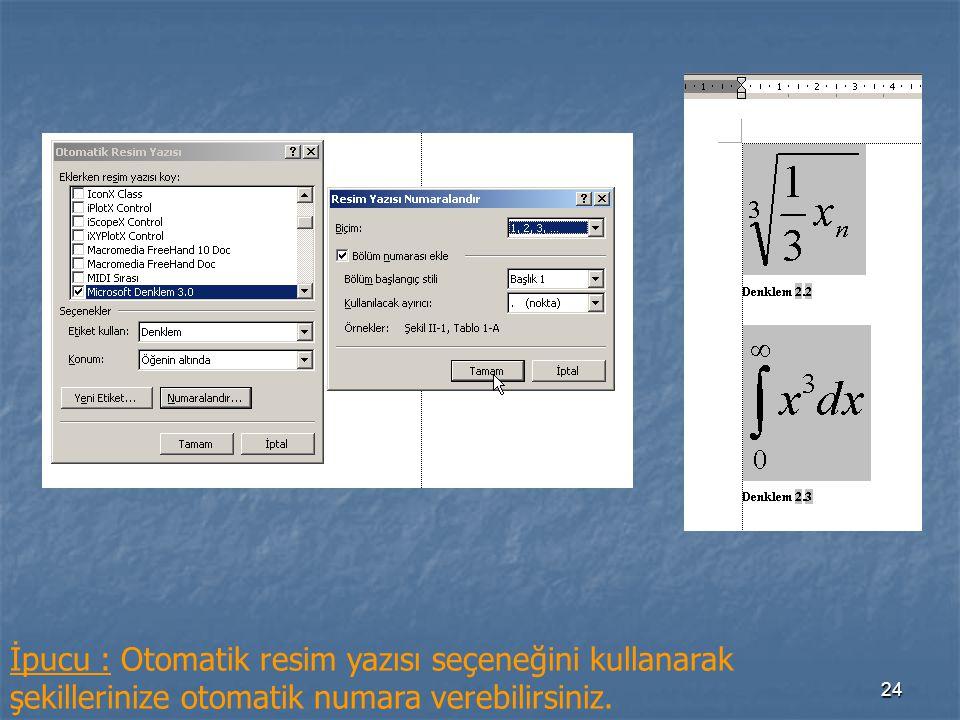 24 İpucu : Otomatik resim yazısı seçeneğini kullanarak şekillerinize otomatik numara verebilirsiniz.
