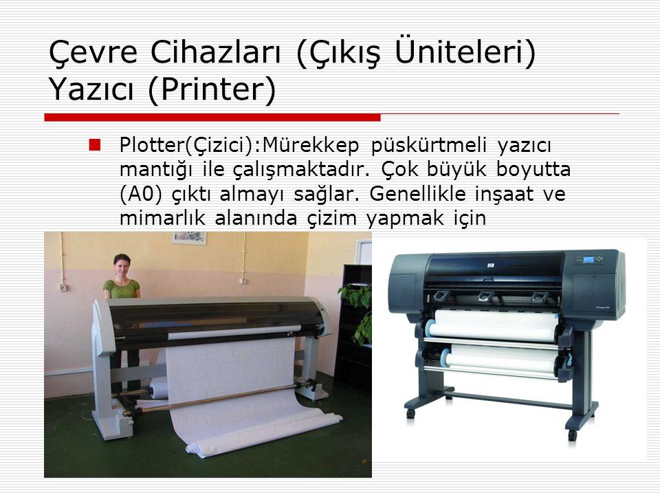 Çevre Cihazları (Çıkış Üniteleri) Yazıcı (Printer)  Laser Yazıcılar:Toner adı verilen toz mürekkebin kağıt üzerine yapıştırılması esası ile çalışırlar.