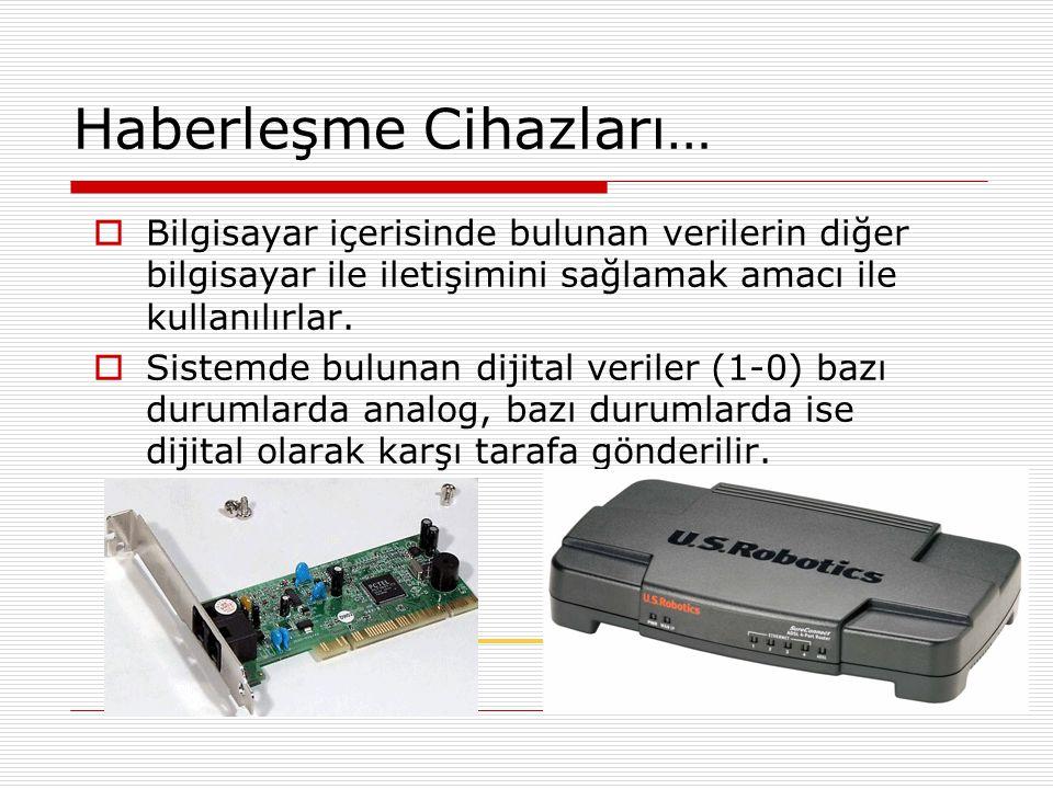 Haberleşme Cihazları…  Haberleşme, PSTN olarak adlandırılan eski sistem telefon hatları üzerinden yapılıyorsa 56 Kbps (Saniyede 56 Kilobit veri taşıma) hızında Fax- Modem kartı anakart üzerinde bulunan PCI genişletme yuvasına bağlanarak kullanılır.
