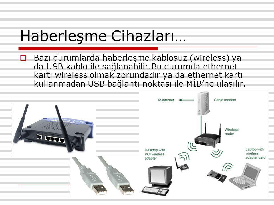Haberleşme Cihazları…  Ethernet kartı ve FTP kablo kullanılması durumunda kablonun her iki ucuna da bağlantı noktalarına uyum sağlayacak RJ45 olarak tanımlanan adaptörlerden bağlamak gereklidir.