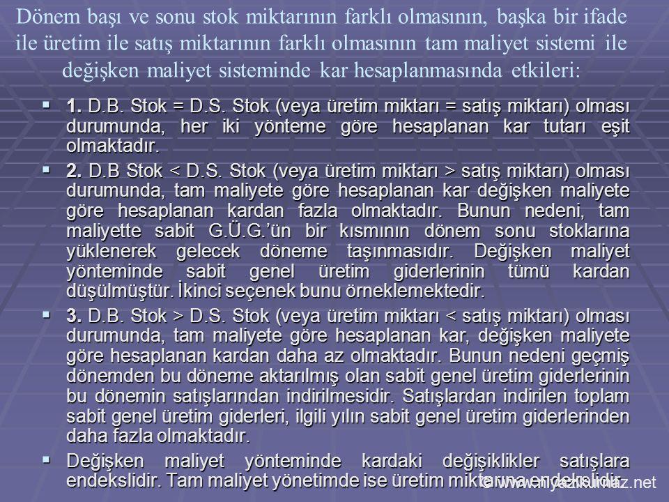  1.D.B. Stok = D.S.