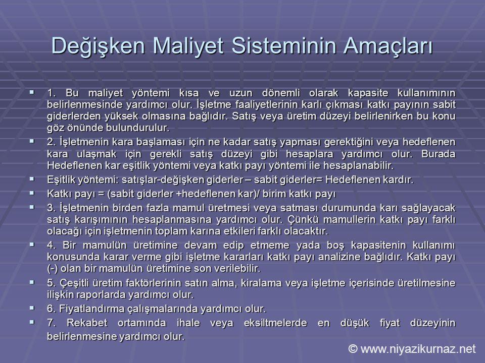 Değişken Maliyet Sisteminin Amaçları  1.