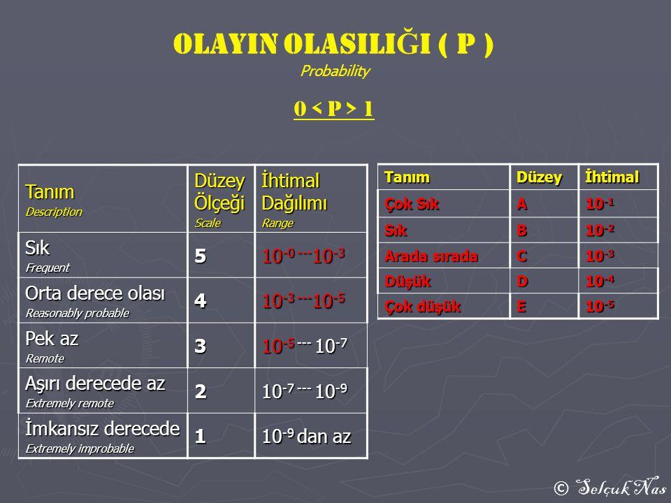 © Selçuk Nas TanımDüzeyİhtimal Çok Sık A 10 -1 SıkB 10 -2 Arada sırada C 10 -3 DüşükD 10 -4 Çok düşük E 10 -5 TanımDescription Düzey Ölçeği Scale İhti
