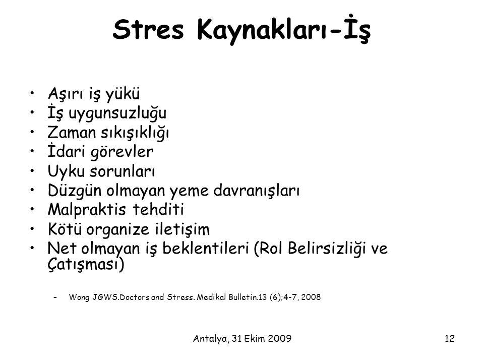 Antalya, 31 Ekim 200912 Stres Kaynakları-İş •Aşırı iş yükü •İş uygunsuzluğu •Zaman sıkışıklığı •İdari görevler •Uyku sorunları •Düzgün olmayan yeme da