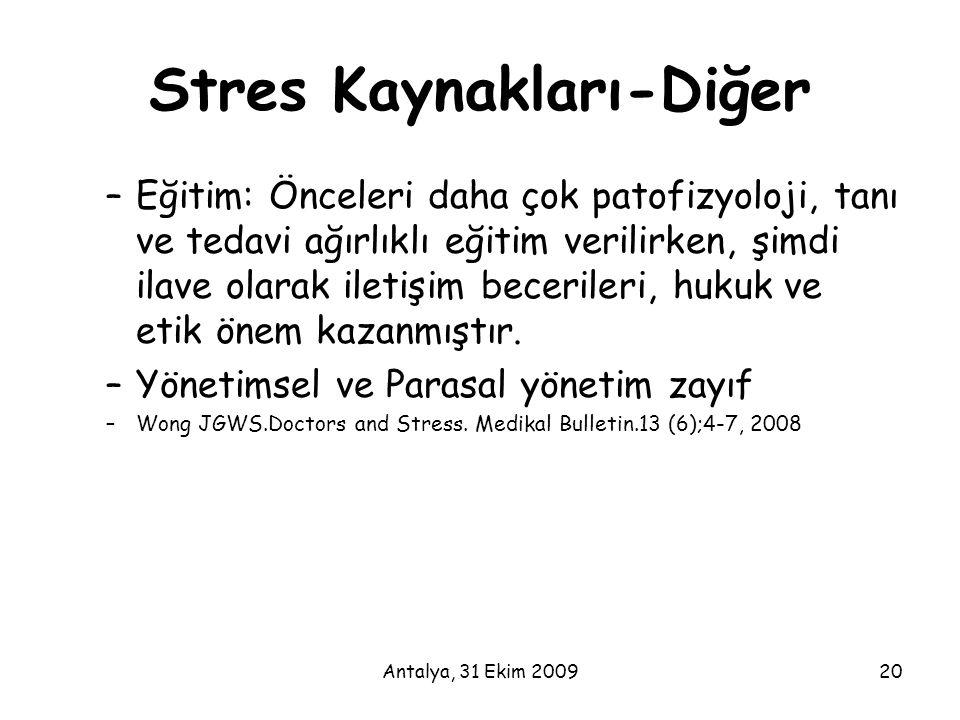 Antalya, 31 Ekim 200920 Stres Kaynakları-Diğer –Eğitim: Önceleri daha çok patofizyoloji, tanı ve tedavi ağırlıklı eğitim verilirken, şimdi ilave olara