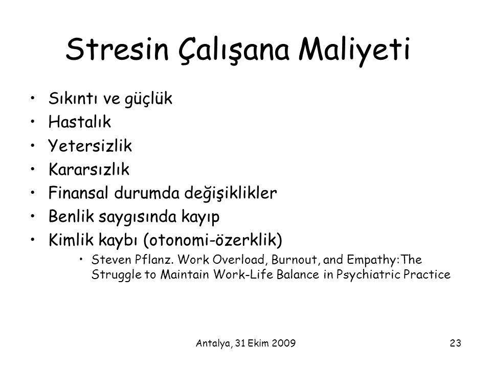 Antalya, 31 Ekim 200923 Stresin Çalışana Maliyeti •Sıkıntı ve güçlük •Hastalık •Yetersizlik •Kararsızlık •Finansal durumda değişiklikler •Benlik saygı