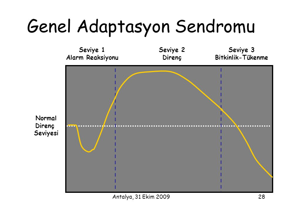 Antalya, 31 Ekim 200928 Seviye 1 Alarm Reaksiyonu Seviye 2 Direnç Seviye 3 Bitkinlik-Tükenme Normal Direnç Seviyesi Genel Adaptasyon Sendromu