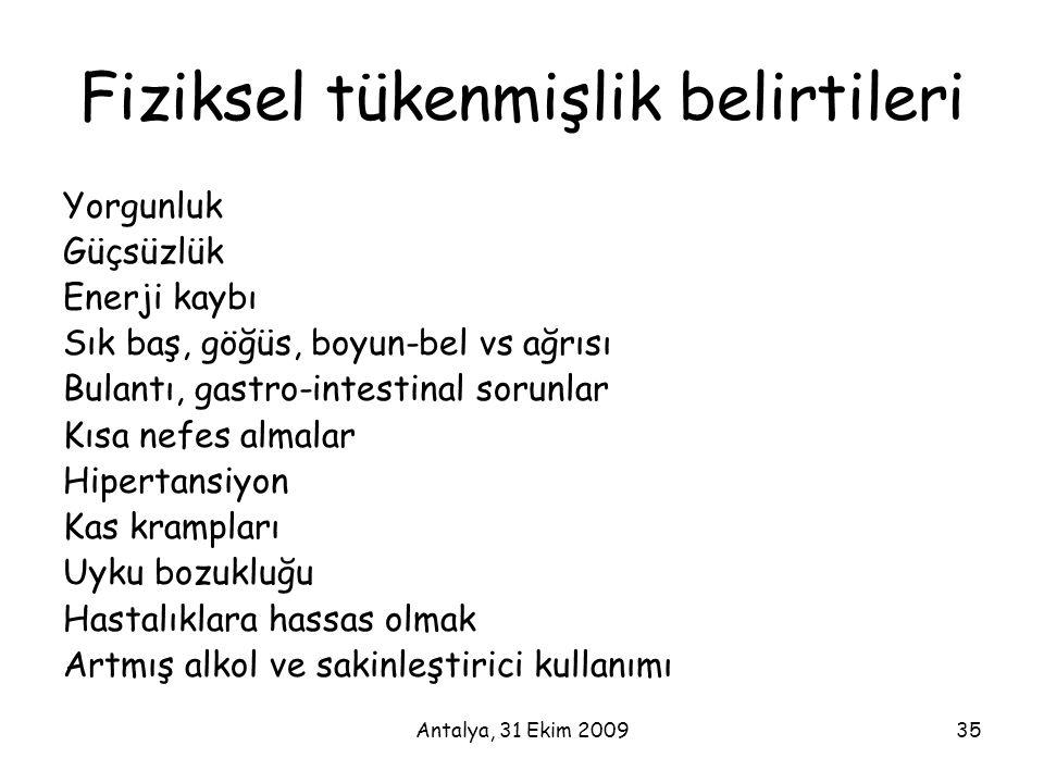 Antalya, 31 Ekim 200935 Fiziksel tükenmişlik belirtileri Yorgunluk Güçsüzlük Enerji kaybı Sık baş, göğüs, boyun-bel vs ağrısı Bulantı, gastro-intestin