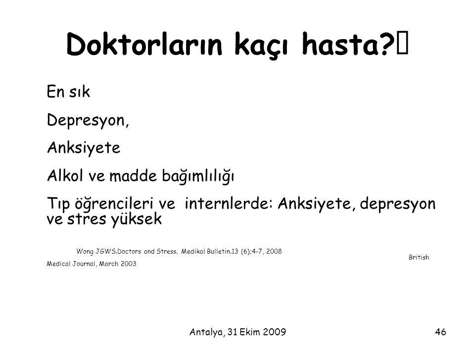 """Antalya, 31 Ekim 200946 Doktorların kaçı hasta?"""" En sık Depresyon, Anksiyete Alkol ve madde bağımlılığı Tıp öğrencileri ve internlerde: Anksiyete, dep"""