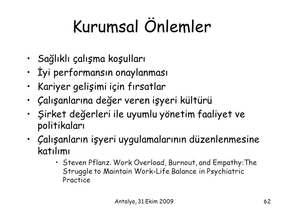 Antalya, 31 Ekim 200962 Kurumsal Önlemler •Sağlıklı çalışma koşulları •İyi performansın onaylanması •Kariyer gelişimi için fırsatlar •Çalışanlarına de