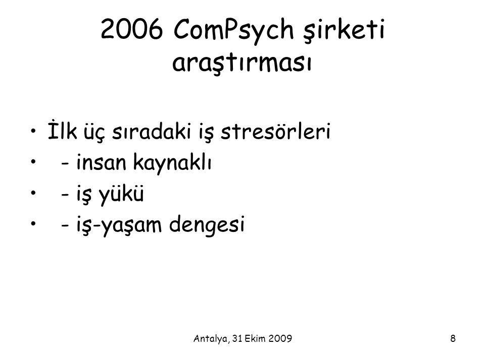 Antalya, 31 Ekim 20098 2006 ComPsych şirketi araştırması •İlk üç sıradaki iş stresörleri • - insan kaynaklı • - iş yükü • - iş-yaşam dengesi