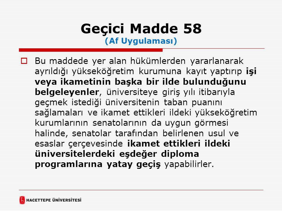 Geçici Madde 58 (Af Uygulaması)  Bu maddede yer alan hükümlerden yararlanarak ayrıldığı yükseköğretim kurumuna kayıt yaptırıp işi veya ikametinin baş