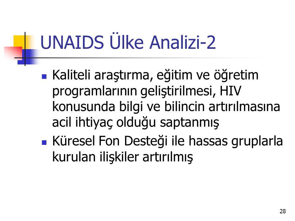 28 UNAIDS Ülke Analizi-2  Kaliteli araştırma, eğitim ve öğretim programlarının geliştirilmesi, HIV konusunda bilgi ve bilincin artırılmasına acil iht