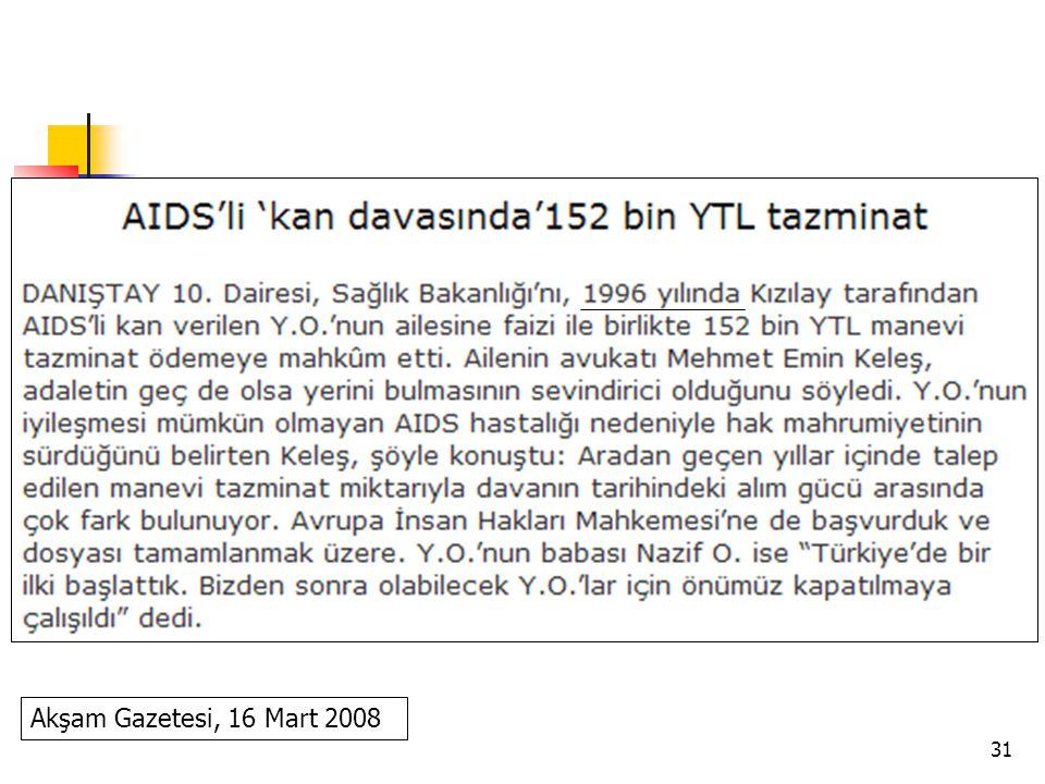 31 Akşam Gazetesi, 16 Mart 2008
