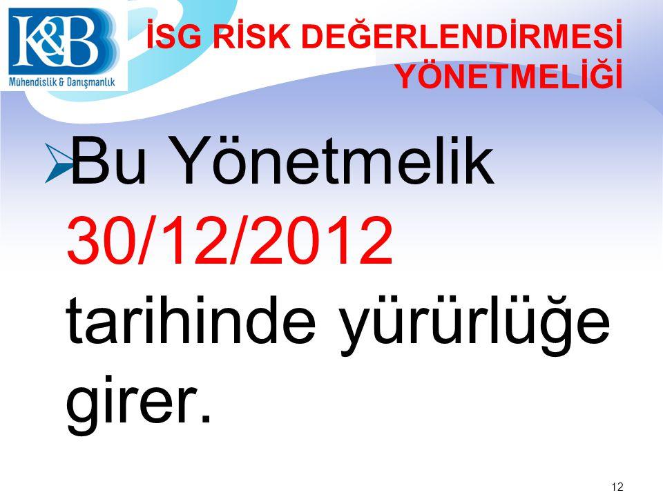 İSG RİSK DEĞERLENDİRMESİ YÖNETMELİĞİ  Bu Yönetmelik 30/12/2012 tarihinde yürürlüğe girer. 12