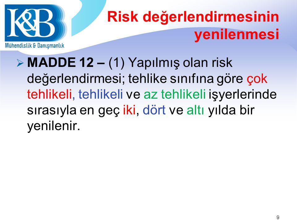 Risk değerlendirmesinin yenilenmesi  MADDE 12 – (1) Yapılmış olan risk değerlendirmesi; tehlike sınıfına göre çok tehlikeli, tehlikeli ve az tehlikeli işyerlerinde sırasıyla en geç iki, dört ve altı yılda bir yenilenir.