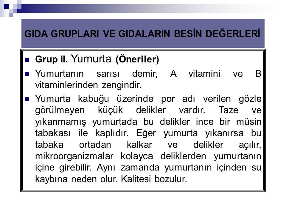 GIDA GRUPLARI VE GIDALARIN BESİN DEĞERLERİ  Grup II. Yumurta (Öneriler)  Yumurtanın sarısı demir, A vitamini ve B vitaminlerinden zengindir.  Yumur