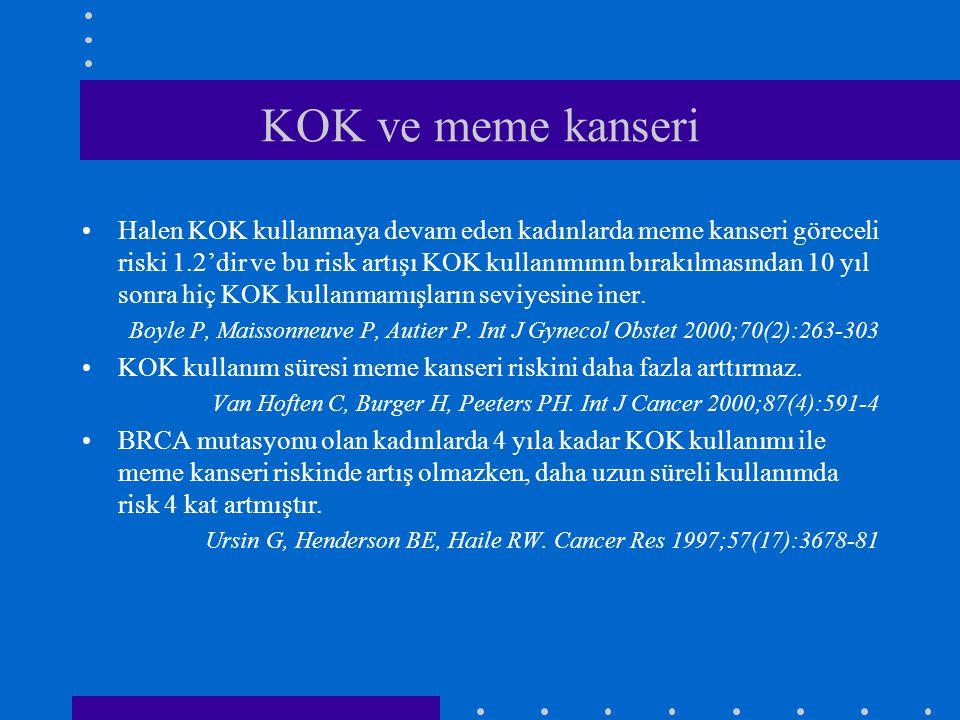 KOK ve meme kanseri •Halen KOK kullanmaya devam eden kadınlarda meme kanseri göreceli riski 1.2'dir ve bu risk artışı KOK kullanımının bırakılmasından