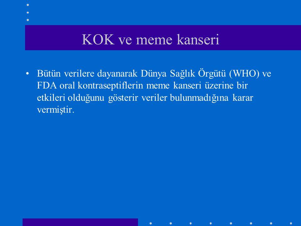 KOK ve meme kanseri •Bütün verilere dayanarak Dünya Sağlık Örgütü (WHO) ve FDA oral kontraseptiflerin meme kanseri üzerine bir etkileri olduğunu göste