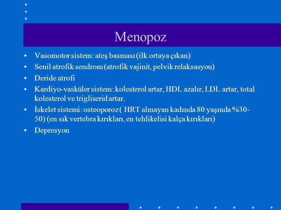 Menopoz •Vasomotor sistem: ateş basması (ilk ortaya çıkan) •Senil atrofik sendrom (atrofik vajinit, pelvik relaksasyon) •Deride atrofi •Kardiyo-vaskül