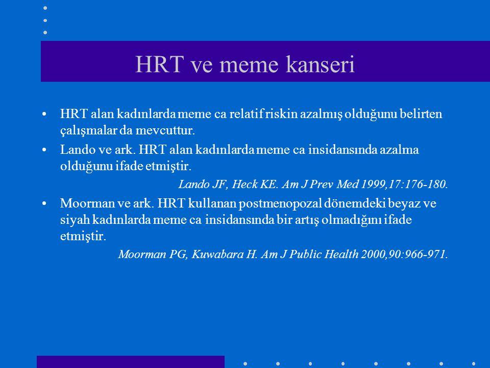 HRT ve meme kanseri •HRT alan kadınlarda meme ca relatif riskin azalmış olduğunu belirten çalışmalar da mevcuttur. •Lando ve ark. HRT alan kadınlarda