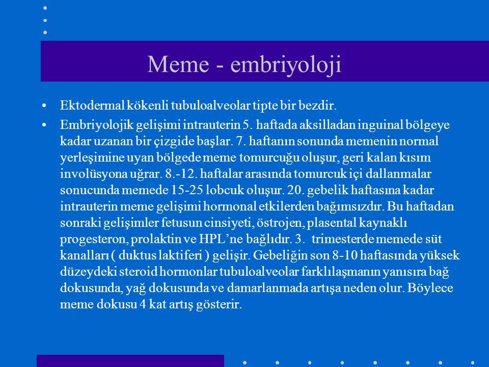 Meme - embriyoloji •Ektodermal kökenli tubuloalveolar tipte bir bezdir. •Embriyolojik gelişimi intrauterin 5. haftada aksilladan inguinal bölgeye kada