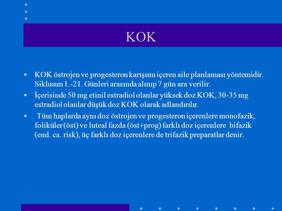KOK •KOK östrojen ve progesteron karışımı içeren aile planlaması yöntemidir. Siklusun 1.-21. Günleri arasında alınıp 7 gün ara verilir. •İçerisinde 50