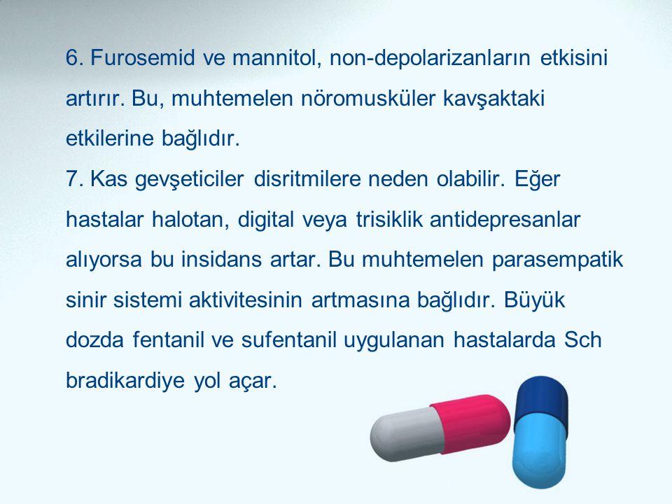 6. Furosemid ve mannitol, non-depolarizanların etkisini artırır. Bu, muhtemelen nöromusküler kavşaktaki etkilerine bağlıdır. 7. Kas gevşeticiler disri