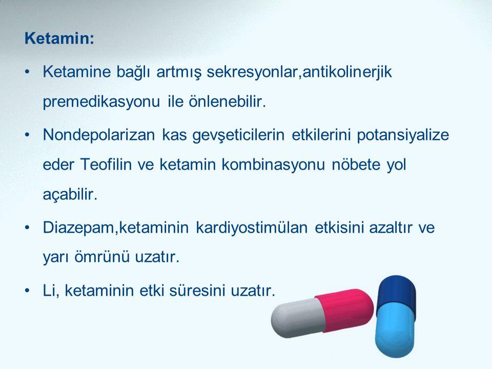 Ketamin: •Ketamine bağlı artmış sekresyonlar,antikolinerjik premedikasyonu ile önlenebilir. •Nondepolarizan kas gevşeticilerin etkilerini potansiyaliz