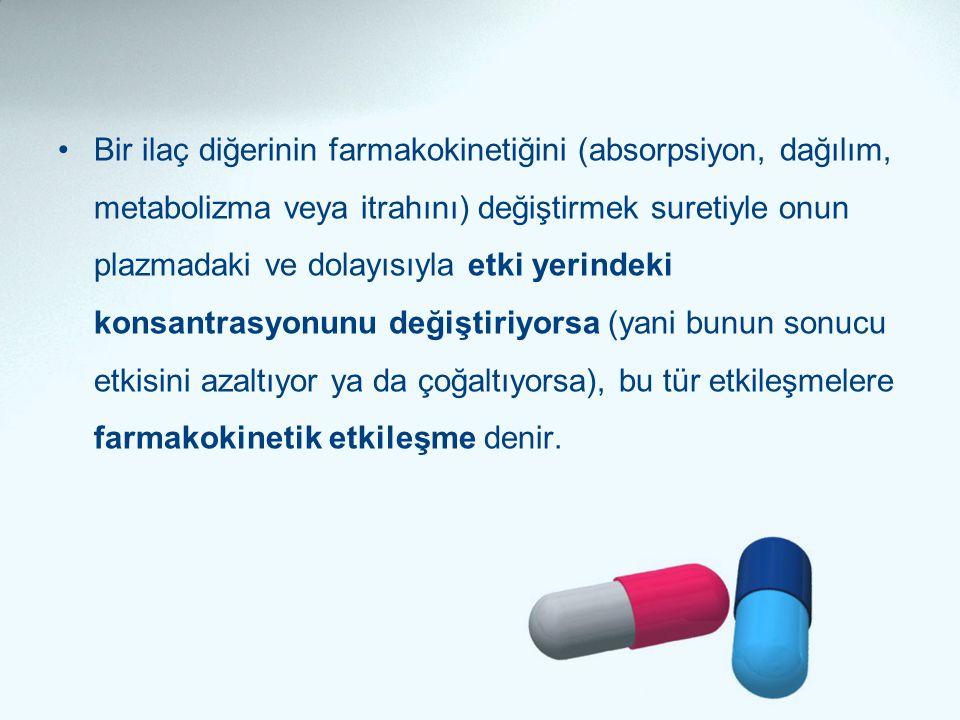 •Bir ilaç diğerinin farmakokinetiğini (absorpsiyon, dağılım, metabolizma veya itrahını) değiştirmek suretiyle onun plazmadaki ve dolayısıyla etki yeri
