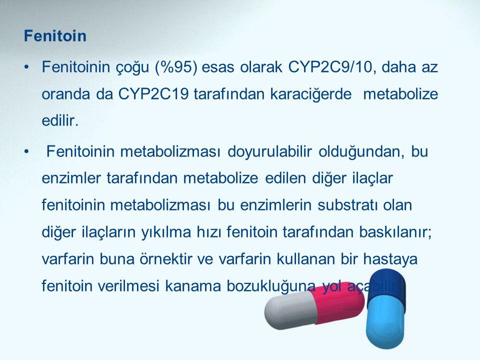 Fenitoin •Fenitoinin çoğu (%95) esas olarak CYP2C9/10, daha az oranda da CYP2C19 tarafından karaciğerde metabolize edilir. • Fenitoinin metabolizması