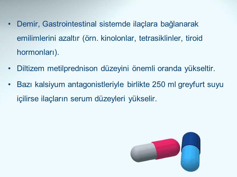 •Demir, Gastrointestinal sistemde ilaçlara bağlanarak emilimlerini azaltır (örn. kinolonlar, tetrasiklinler, tiroid hormonları). •Diltizem metilpredni