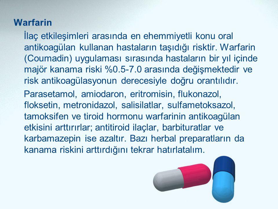 Warfarin İlaç etkileşimleri arasında en ehemmiyetli konu oral antikoagülan kullanan hastaların taşıdığı risktir. Warfarin (Coumadin) uygulaması sırası