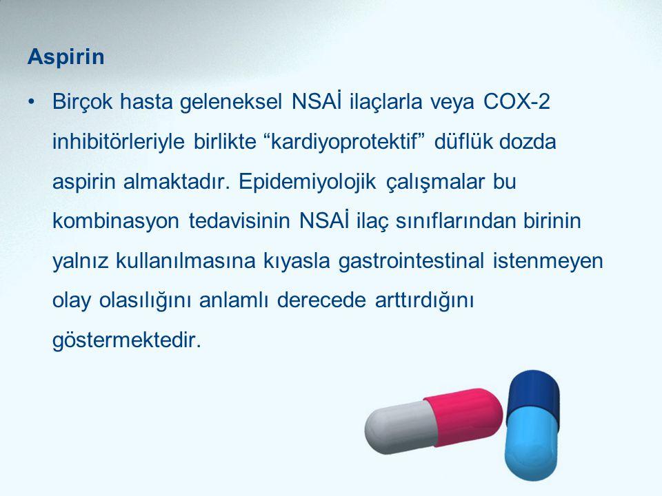 """Aspirin •Birçok hasta geleneksel NSAİ ilaçlarla veya COX-2 inhibitörleriyle birlikte """"kardiyoprotektif"""" düflük dozda aspirin almaktadır. Epidemiyoloji"""