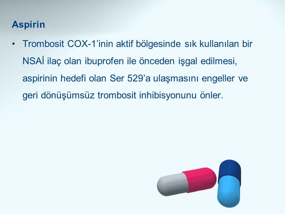Aspirin •Trombosit COX-1'inin aktif bölgesinde sık kullanılan bir NSAİ ilaç olan ibuprofen ile önceden işgal edilmesi, aspirinin hedefi olan Ser 529'a