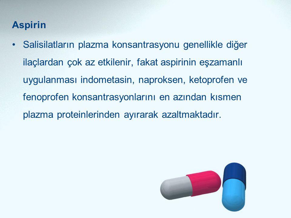 Aspirin •Salisilatların plazma konsantrasyonu genellikle diğer ilaçlardan çok az etkilenir, fakat aspirinin eşzamanlı uygulanması indometasin, naproks