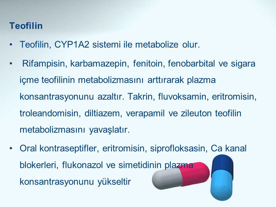 Teofilin •Teofilin, CYP1A2 sistemi ile metabolize olur. • Rifampisin, karbamazepin, fenitoin, fenobarbital ve sigara içme teofilinin metabolizmasını a