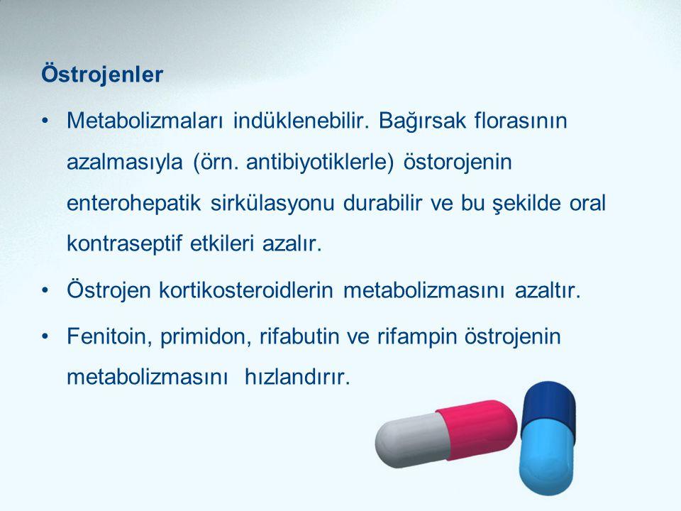 Östrojenler •Metabolizmaları indüklenebilir. Bağırsak florasının azalmasıyla (örn. antibiyotiklerle) östorojenin enterohepatik sirkülasyonu durabilir