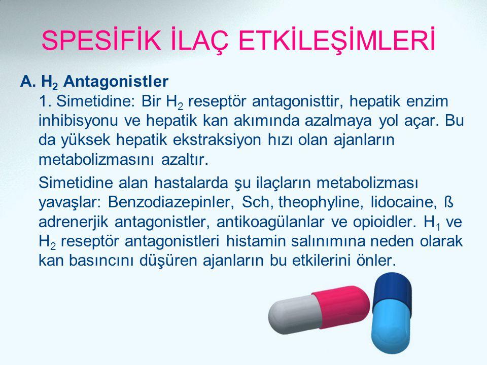 SPESİFİK İLAÇ ETKİLEŞİMLERİ A. H 2 Antagonistler 1. Simetidine: Bir H 2 reseptör antagonisttir, hepatik enzim inhibisyonu ve hepatik kan akımında azal