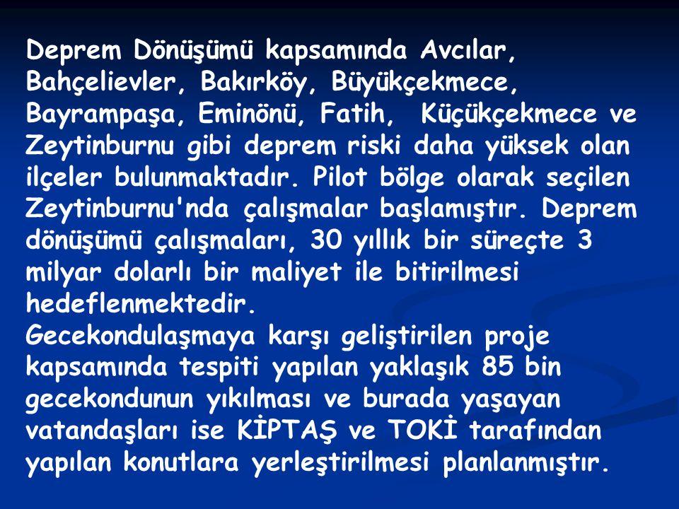 Deprem Dönüşümü kapsamında Avcılar, Bahçelievler, Bakırköy, Büyükçekmece, Bayrampaşa, Eminönü, Fatih, Küçükçekmece ve Zeytinburnu gibi deprem riski da