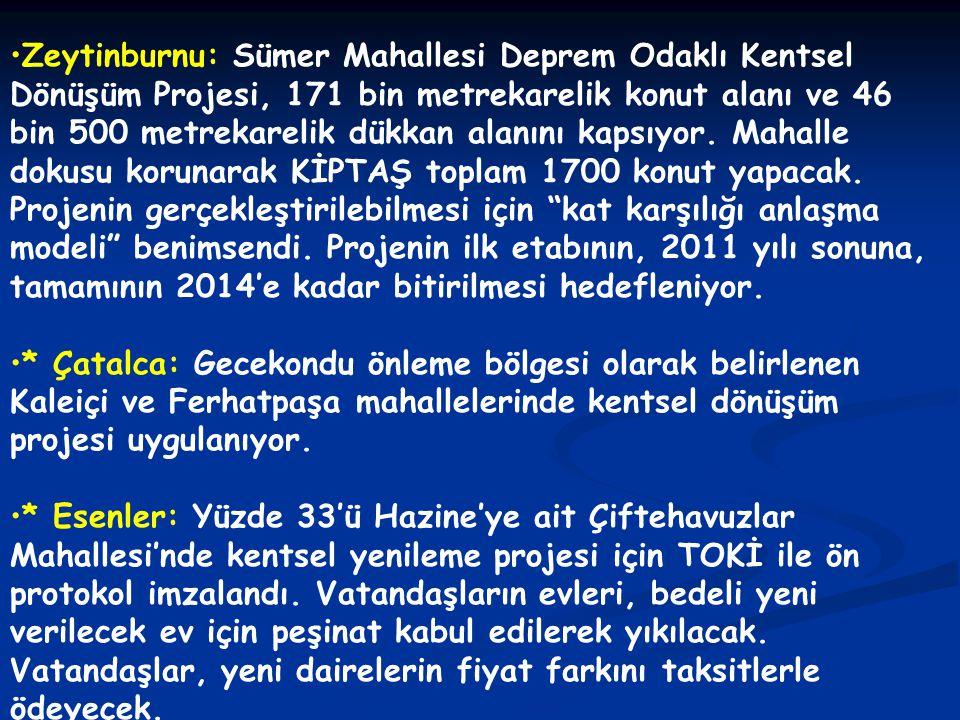 •Zeytinburnu: Sümer Mahallesi Deprem Odaklı Kentsel Dönüşüm Projesi, 171 bin metrekarelik konut alanı ve 46 bin 500 metrekarelik dükkan alanını kapsıy