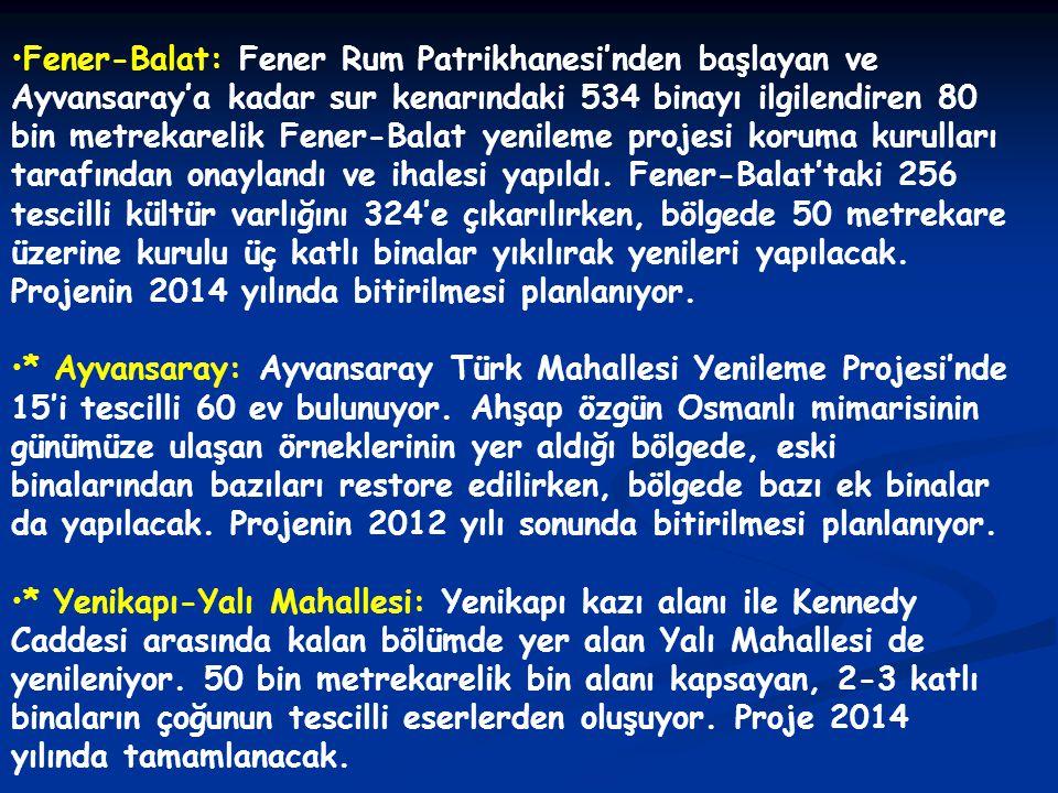 •Fener-Balat: Fener Rum Patrikhanesi'nden başlayan ve Ayvansaray'a kadar sur kenarındaki 534 binayı ilgilendiren 80 bin metrekarelik Fener-Balat yenil