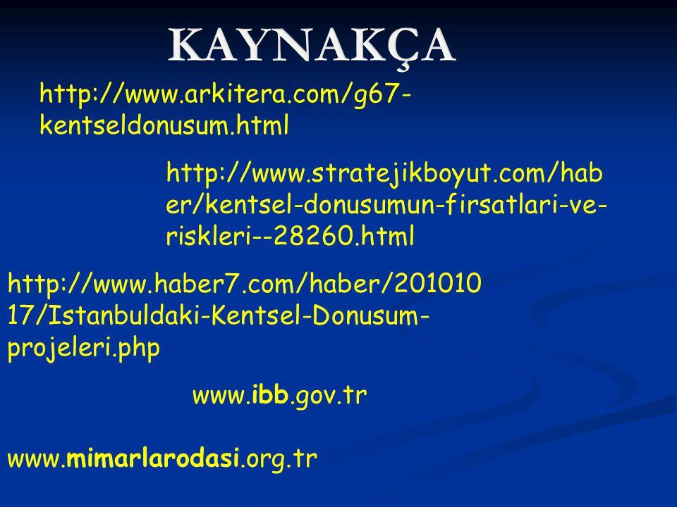 http://www.arkitera.com/g67- kentseldonusum.html http://www.stratejikboyut.com/hab er/kentsel-donusumun-firsatlari-ve- riskleri--28260.html http://www