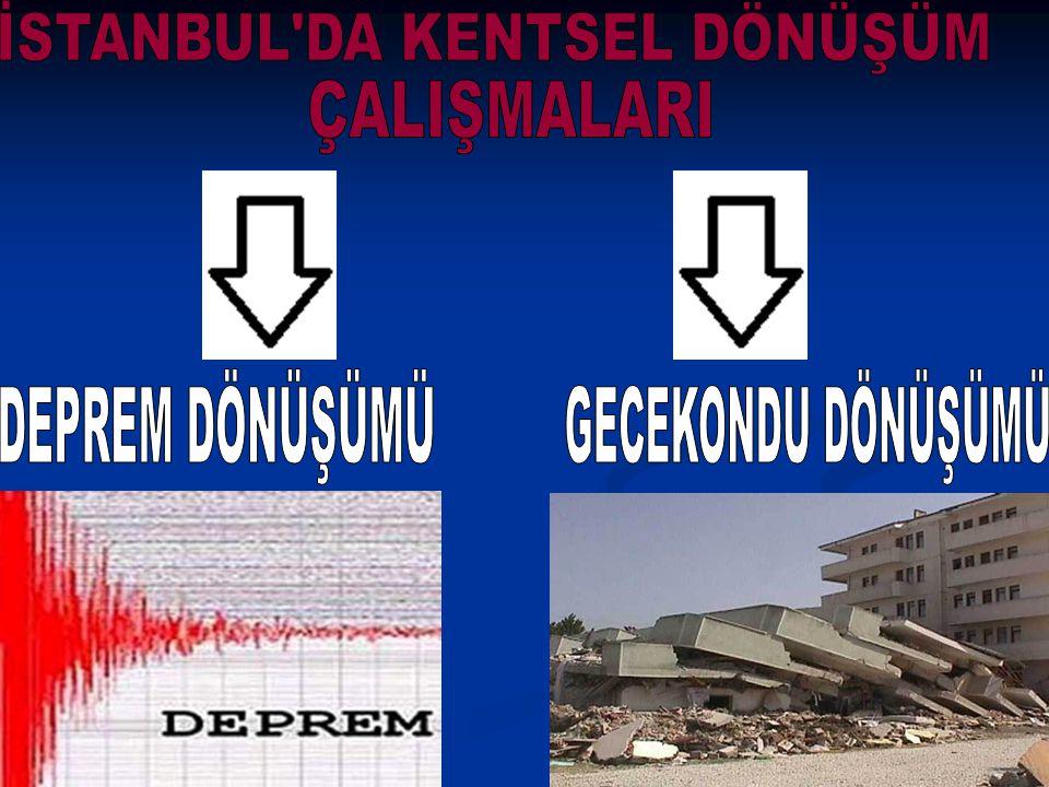 Deprem Dönüşümü kapsamında Avcılar, Bahçelievler, Bakırköy, Büyükçekmece, Bayrampaşa, Eminönü, Fatih, Küçükçekmece ve Zeytinburnu gibi deprem riski daha yüksek olan ilçeler bulunmaktadır.