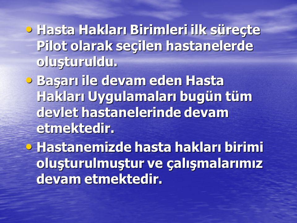 • Hasta Hakları Birimleri ilk süreçte Pilot olarak seçilen hastanelerde oluşturuldu. • Başarı ile devam eden Hasta Hakları Uygulamaları bugün tüm devl