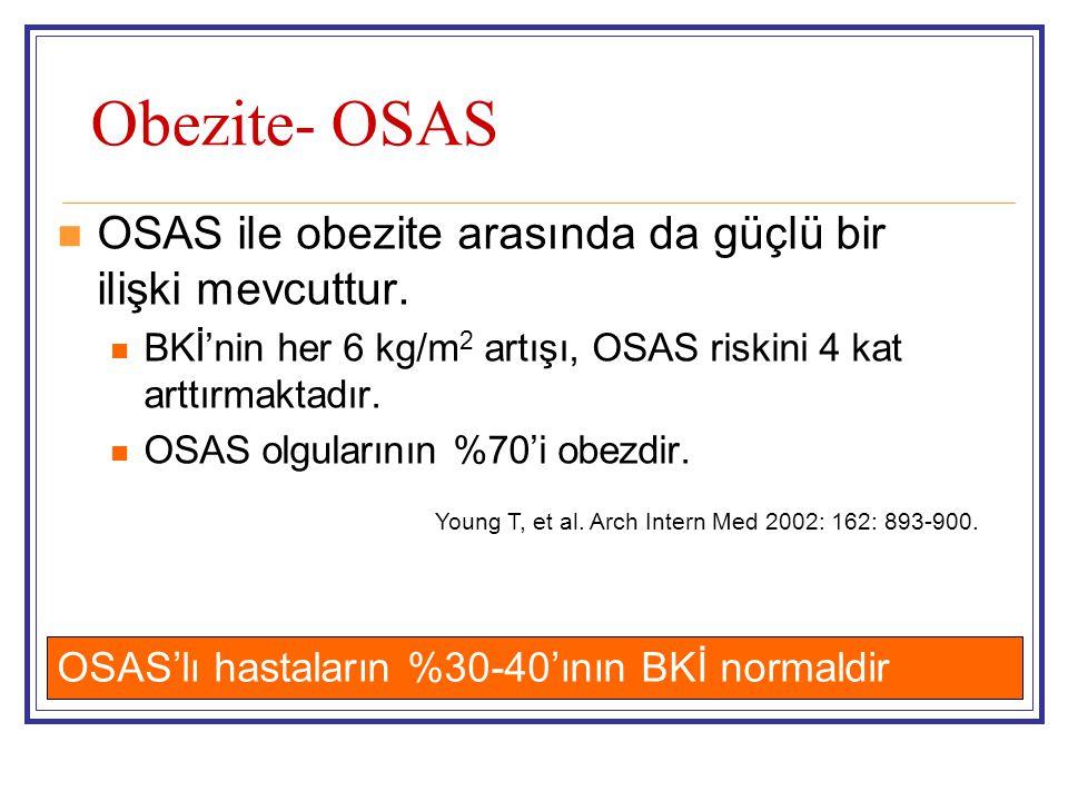 Obezite- OSAS  OSAS ile obezite arasında da güçlü bir ilişki mevcuttur.  BKİ'nin her 6 kg/m 2 artışı, OSAS riskini 4 kat arttırmaktadır.  OSAS olgu