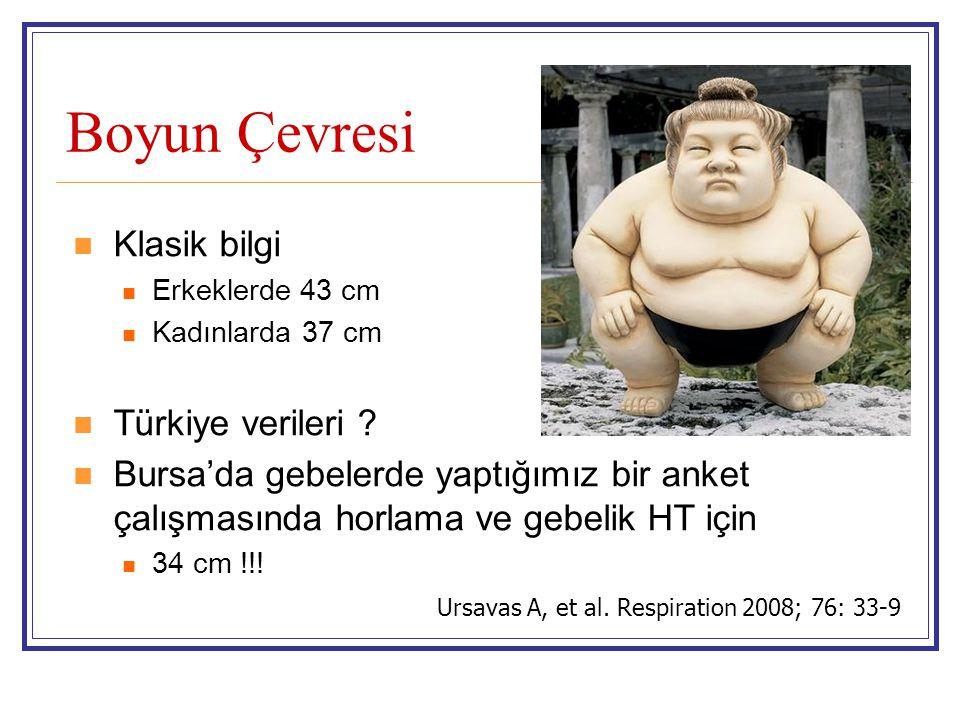 Boyun Çevresi  Klasik bilgi  Erkeklerde 43 cm  Kadınlarda 37 cm  Türkiye verileri ?  Bursa'da gebelerde yaptığımız bir anket çalışmasında horlama