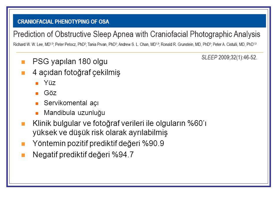  PSG yapılan 180 olgu  4 açıdan fotoğraf çekilmiş  Yüz  Göz  Servikomental açı  Mandibula uzunluğu  Klinik bulgular ve fotoğraf verileri ile olguların %60'ı yüksek ve düşük risk olarak ayrılabilmiş  Yöntemin pozitif prediktif değeri %90.9  Negatif prediktif değeri %94.7