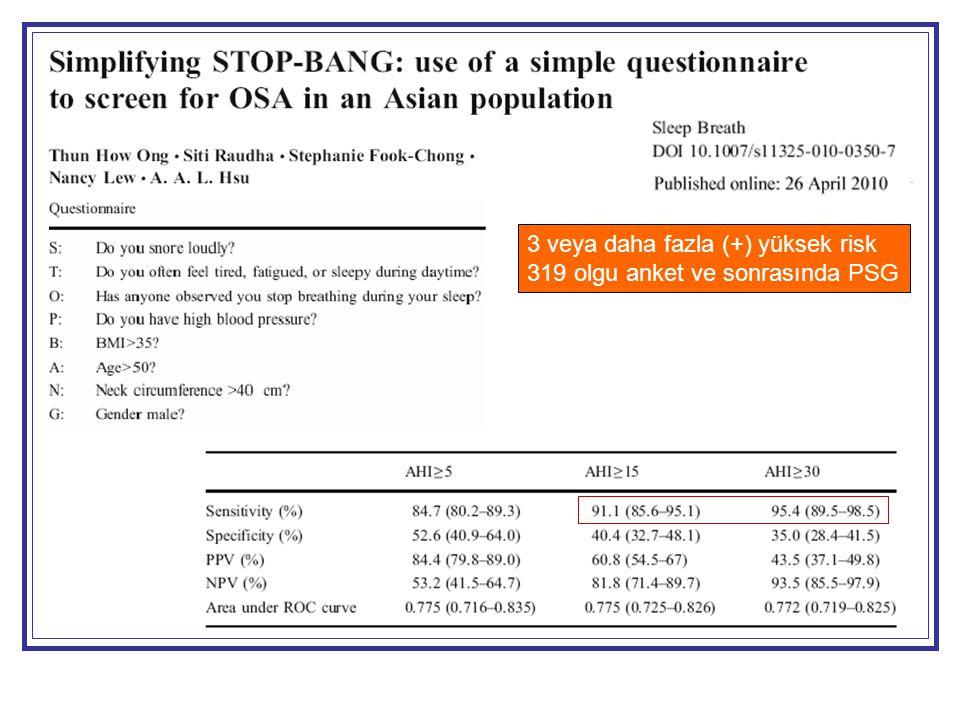 3 veya daha fazla (+) yüksek risk 319 olgu anket ve sonrasında PSG