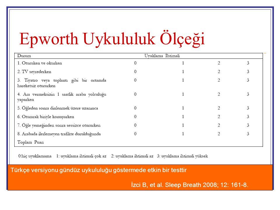 Epworth Uykululuk Ölçeği Türkçe versiyonu gündüz uykululuğu göstermede etkin bir testtir İzci B, et al. Sleep Breath 2008; 12: 161-8.